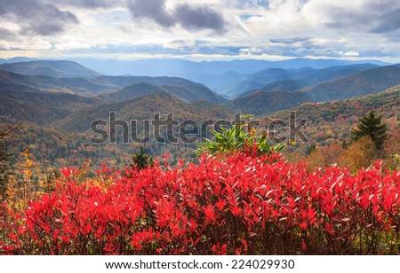 Autumn view of the Blue Ridge Appalachian Mountains as seen from Reinhart Overlook off the parkway south of Asheville, North Carolina. - stock photo