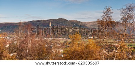 Autumn view of the National Wallace Monument in Stirling, Scotland, UK