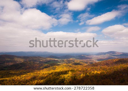 Autumn view of the Shenandoah Valley from Skyline Drive in Shenandoah National Park, Virginia. - stock photo