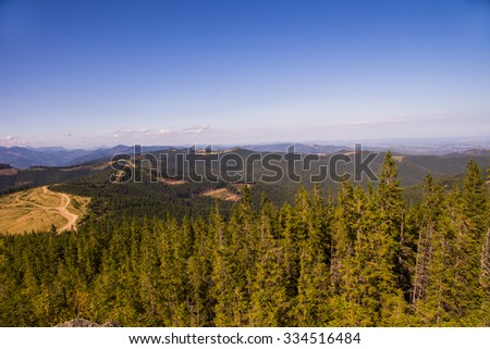 Autumn View of the Ukrainian Carpathian mountains,