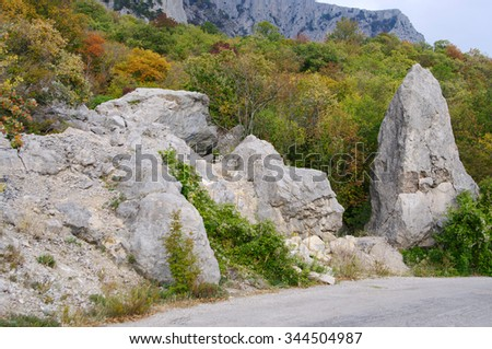Autumn views rocks of Baydarskiy pass and old road Yalta - Sevastopol, Crimea, Russia