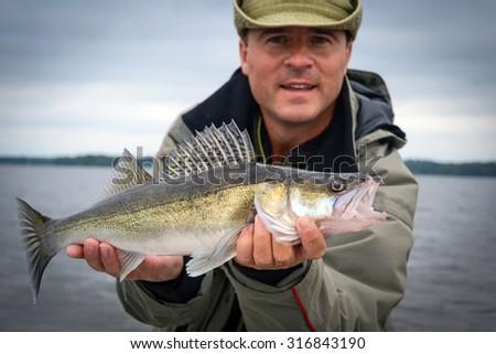 Autumn walleye fishing in Sweden - stock photo