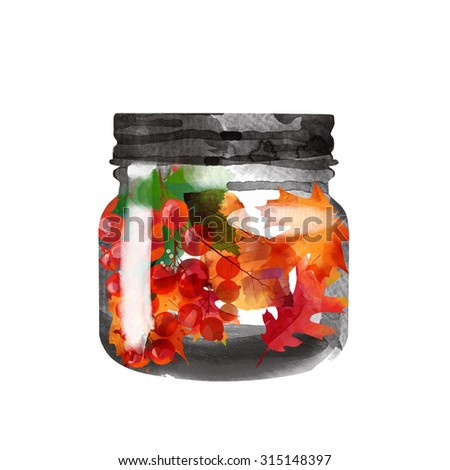 Autumn. watercolor background of glass jar with autumn leaves and berries