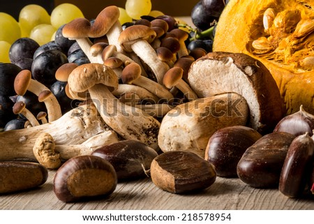Autumn with pomegranate, pumpkin, mushrooms, chestnuts and grapes - stock photo
