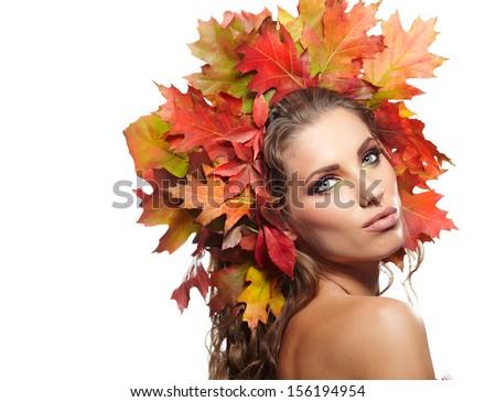 Autumn Woman. Beautiful makeup  - stock photo