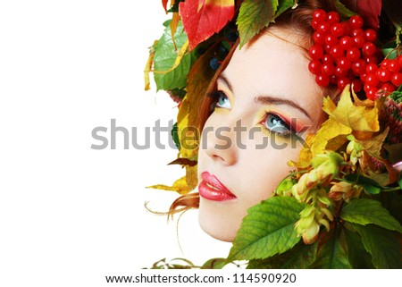Autumn Woman close up. Beautiful makeup isolated over white background - stock photo