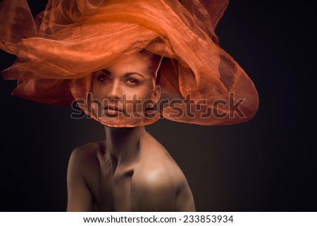 Autumn Woman Fashion Portrait, Beauty Autumn Look - stock photo