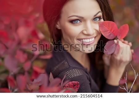 Autumn Woman Fashion Portrait. Fall. Beautiful Girl. - stock photo