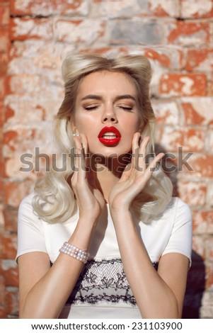 Autumn Woman Fashion Retro Portrait with red lips. Beautiful Girl. - stock photo