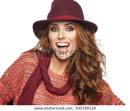 Autumn woman portrait - stock photo