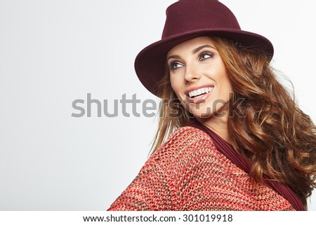 Autumn woman portrait. Shoot in studio - stock photo