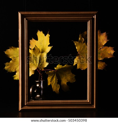 Autumn yellow leaves on a dark background