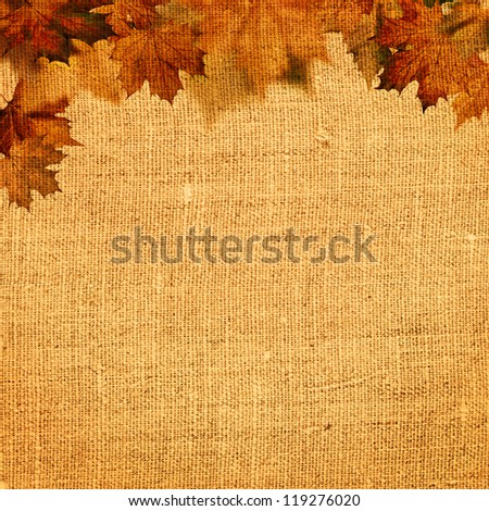 Autumnal abstract still life over hessian background for your design - stock photo