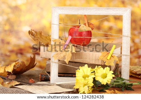 Autumnal composition with flowers, books  and leaves on bright background - stock photo