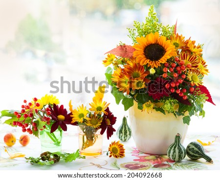 Autumnal flowers - stock photo