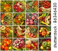 autumnal harvest collage - stock photo