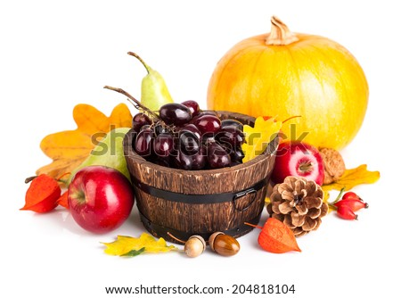 Autumnal harvest fruit and vegetables. Isolated on white background - stock photo
