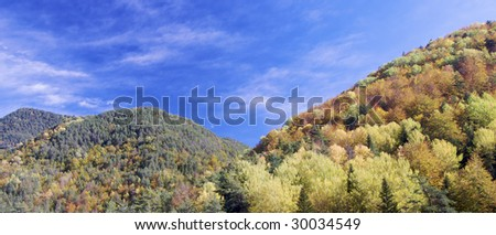 Autumnal hills in Pyrenees