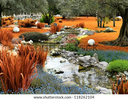 autumnal japanese garden with pond - stock photo
