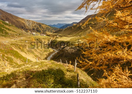 Autumnal landscape with river and gorge