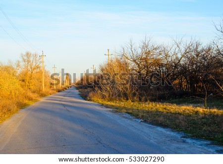 Autumnal landscape with the road and poles