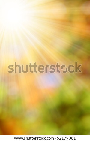 autumnal natural background blurring with sun rays - stock photo