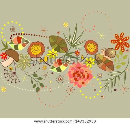 Autumnal seamless border. Raster copy - stock photo