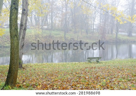 Autumnal trees with colorful leafs and misty lake - stock photo