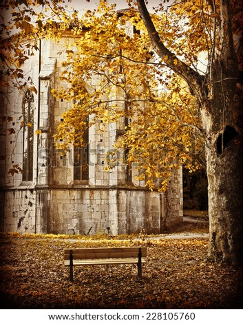 Autumnal view of old abbey with bench and red tree. Istagram-like retro effect added