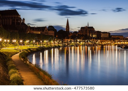 Auxerre along Yonne River. Auxerre, Burgundy, France
