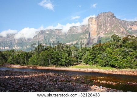 Auyan Tepuy with Angel Falls â?? highest waterfall in the world, Venezuela