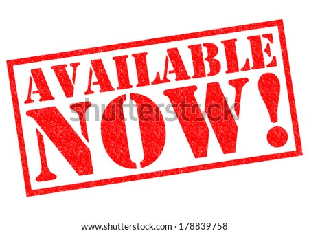 AVAILABLE NOW! red Rubber Stamp over a white background. - stock photo