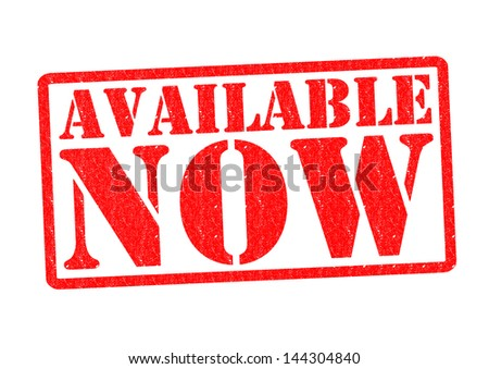 AVAILABLE NOW Rubber Stamp over a white background. - stock photo
