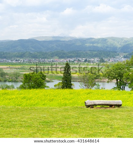 Available wood branch chair overlook river and town for lover or - stock photo