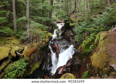 Avalanche Creek Waterfall, Glacier National Park - stock photo