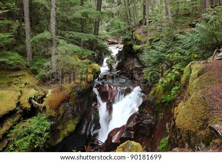 Avalanche Creek Waterfall, Glacier National Park - stock photo
