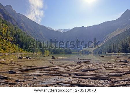 Avalanche Lake in Morning Sun in Glacier National Park in Montana - stock photo