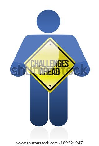avatar holding a challenge ahead sign. illustration design over a white background
