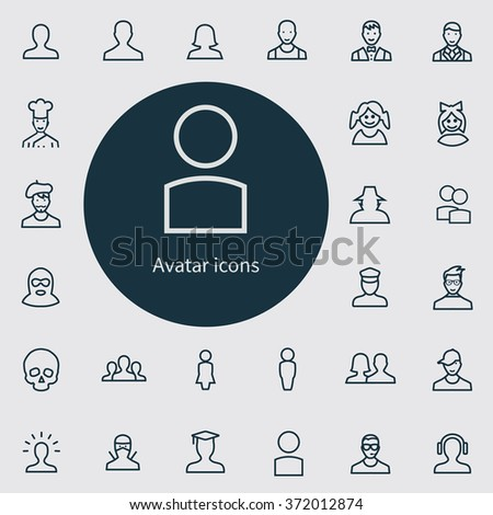 avatar outline, thin, flat, digital icon set for web and mobile - stock photo