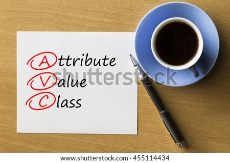 AVC Attribute Value Class - handwriting on notebook with cup of coffee and pen, acronym business concept