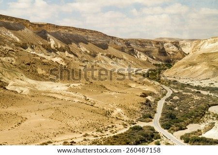 Avdat Canyon in Negev desert, Israel - stock photo