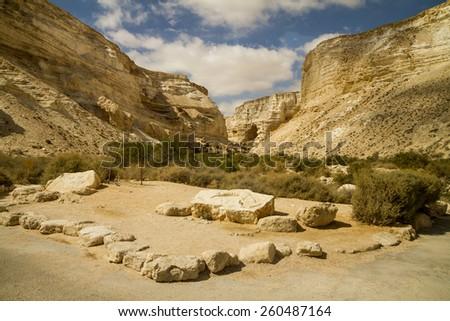 Avdat Canyon in Negev desert, Israel - stock photo