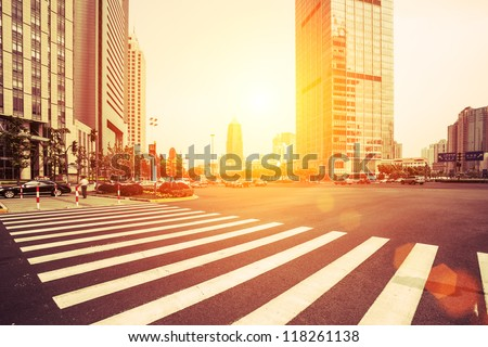 avenue in modern city - stock photo
