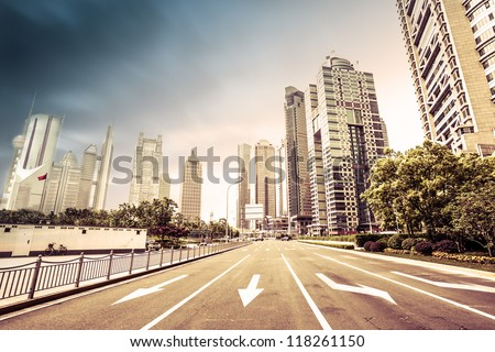 avenue in modern city