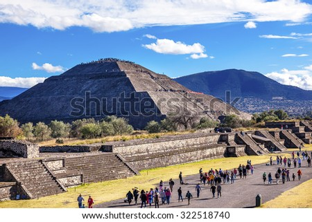 Avenue of Dead and Sun Pyramid, Temple of Sun Teotihuacan, Mexico City Mexico - stock photo