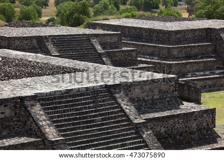 Avenue of Dead and Sun Pyramid, Temple of Sun Teotihuacan, Mexico City, Mexico.