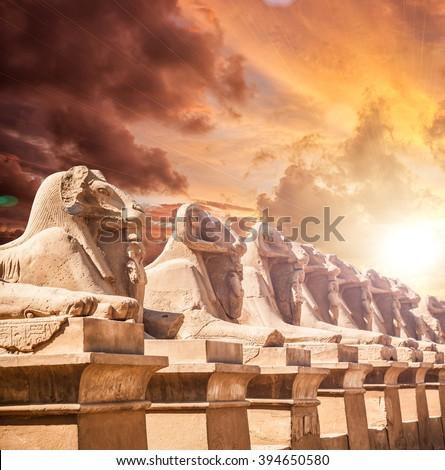 Avenue of the ram-headed Sphinxes. Karnak Temple. Luxor, Egypt - stock photo