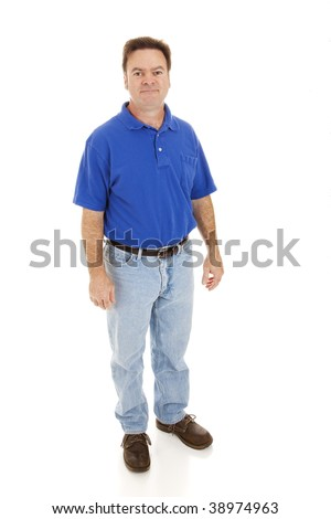 Average, casually dressed man in his forties.  Full body isolated on white. - stock photo