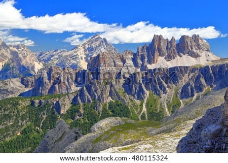 Averau summit beyond Croda da Lago massif, Dolomite Alps, Italy