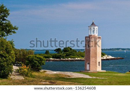 Avery Point lighthouse was the last lighthouse to be built in 1943 and is situated on the University of Connecticut campus. - stock photo
